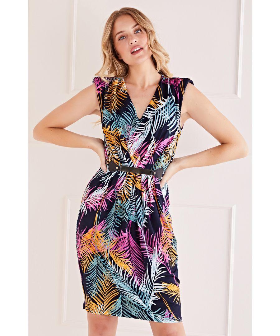 Image for Mela London Multi Coloured Leaf Belted Dress