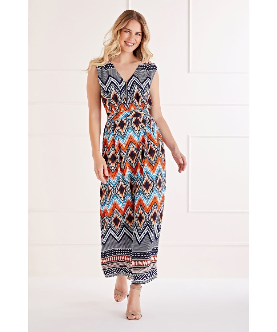 Image for Zip Detail Aztec Maxi Dress