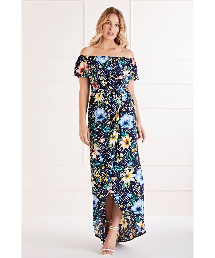 Image for Polka Dot Floral Bardot Maxi Dress
