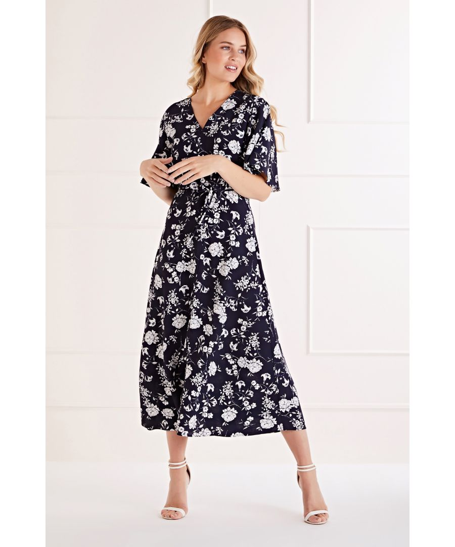 Image for Floral Sketch Fluted Sleeve Midi Dress