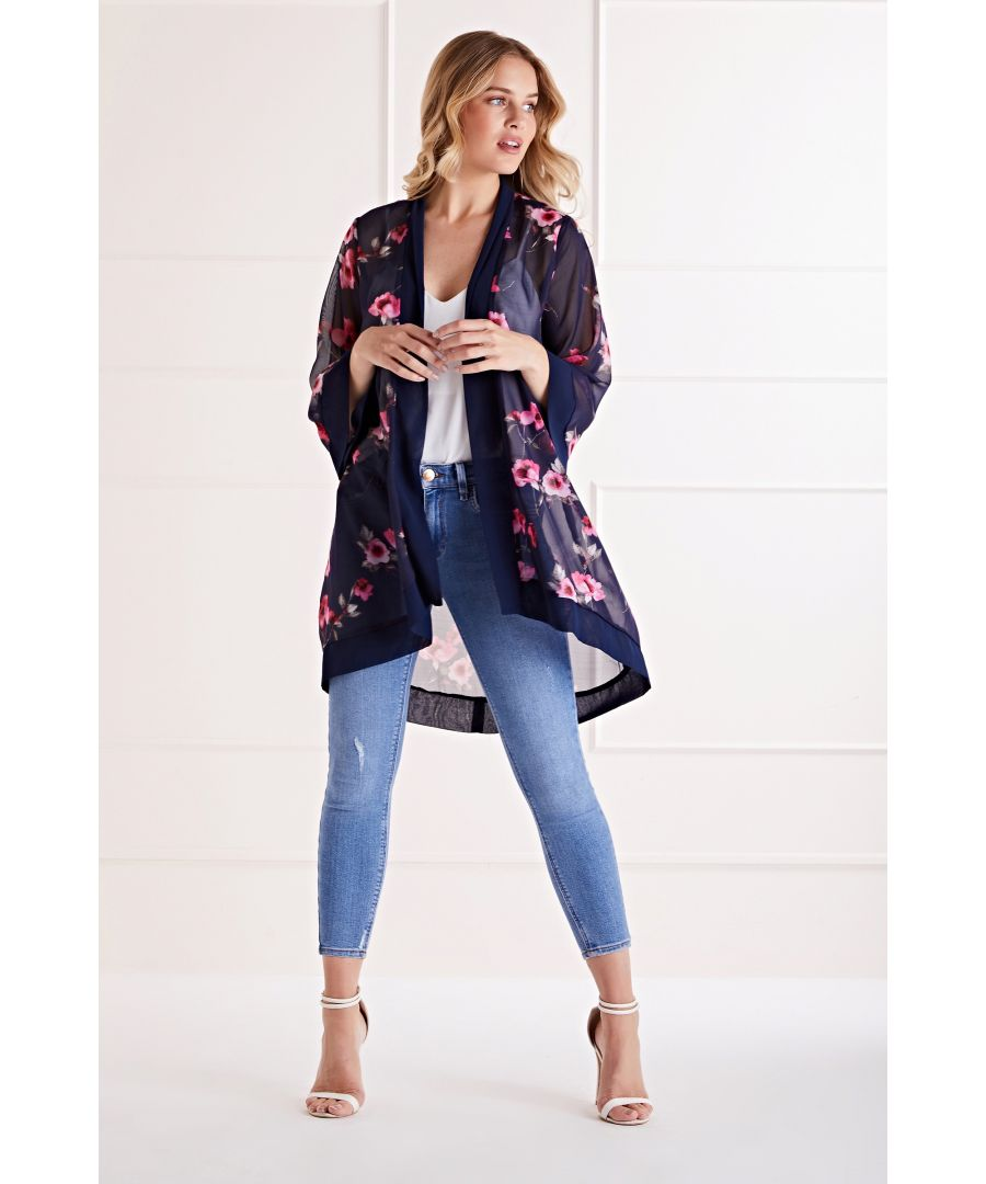 Image for Rose Print Long Length Kimono