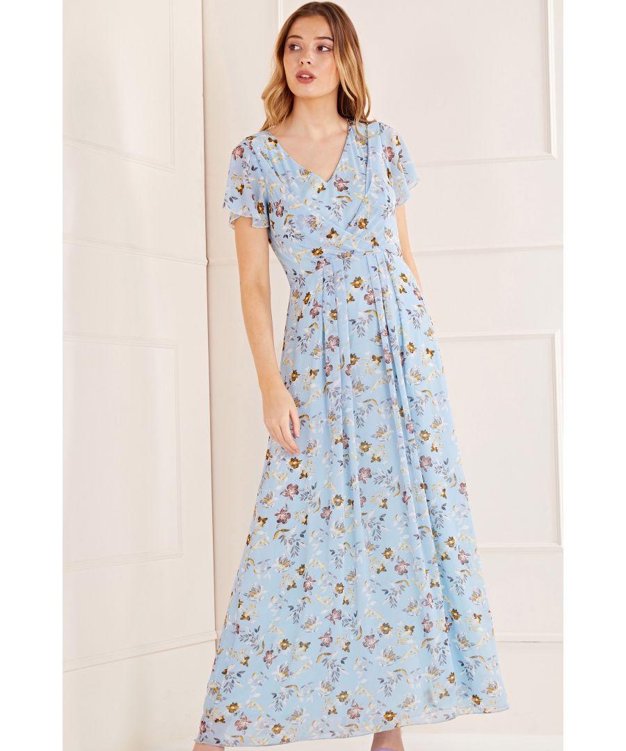 Image for Mela London Floral Wrap Front Detail Maxi Dress