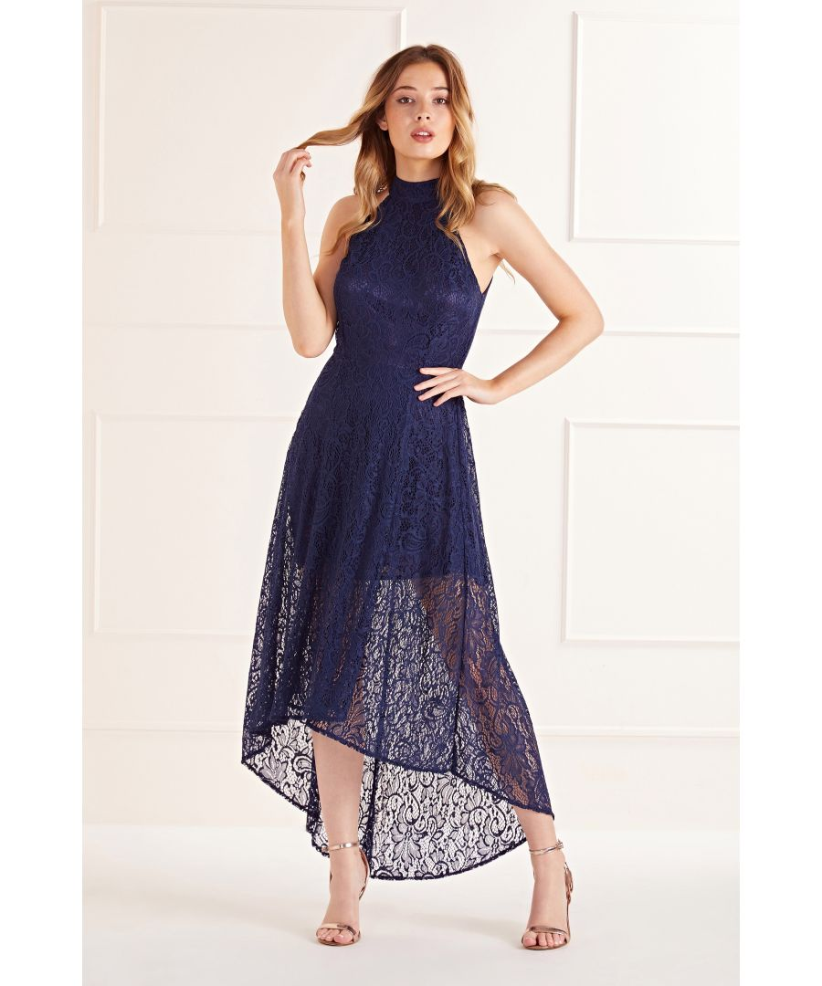Image for Navy High Neck High Low Lace Maxi Dress