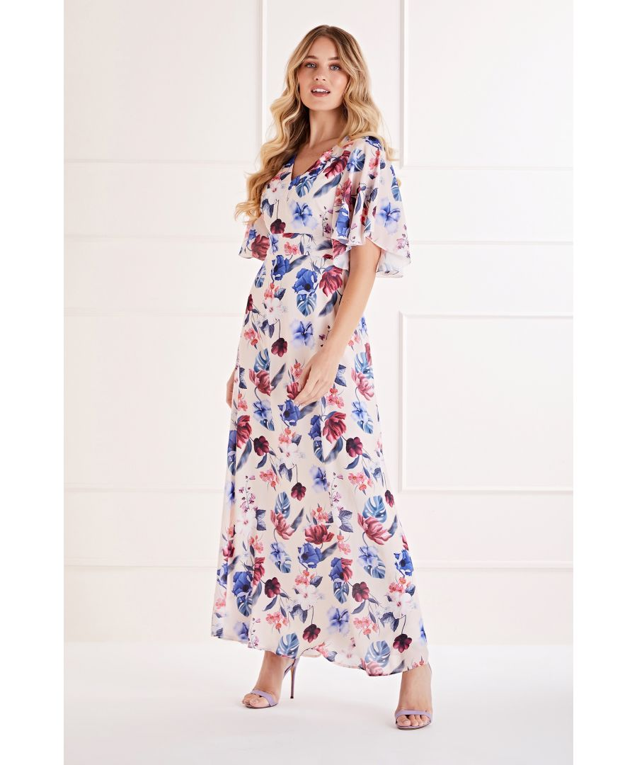 Image for Fluted Sleeve Tropical  Maxi Dress