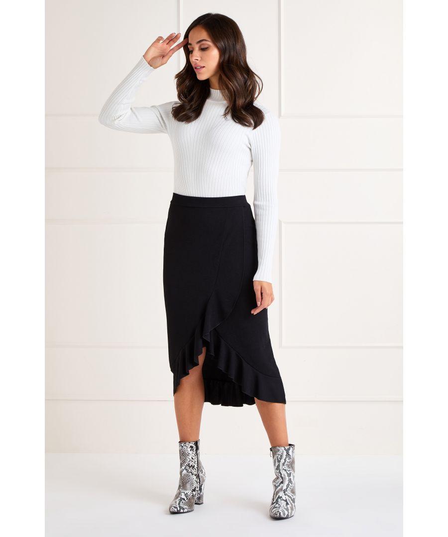 Image for Black Ruffle Midi Skirt