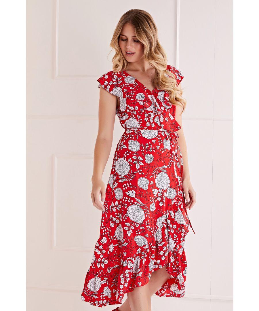 Image for Mela London Floral Printed Midi Wrap Dress