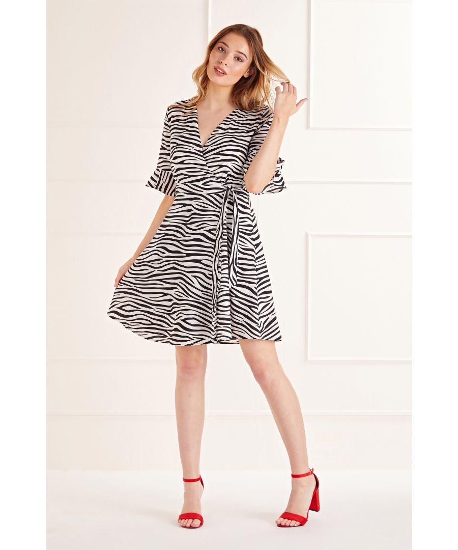 Image for Black Zebra Stripe Wrap Dress
