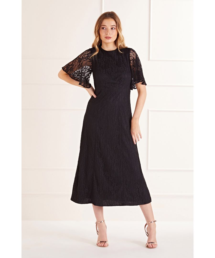 Image for Black Floral Lace Midi Dress