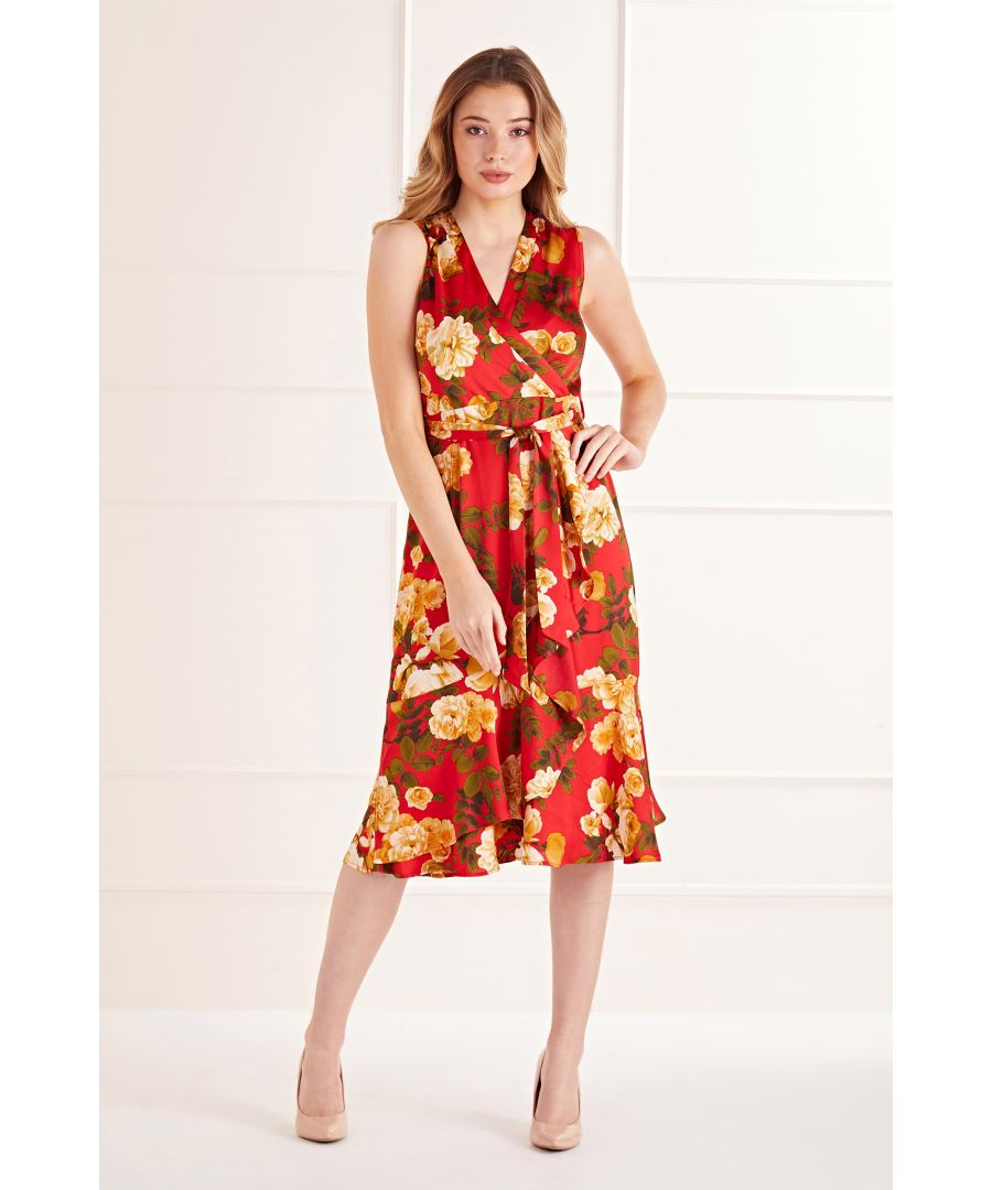 Image for Red Rose Flower Wrap Effect Midi Dress
