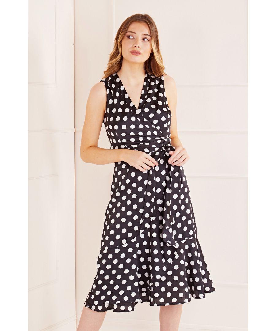 Image for Polka Dot Wrap Effect Midi Dress