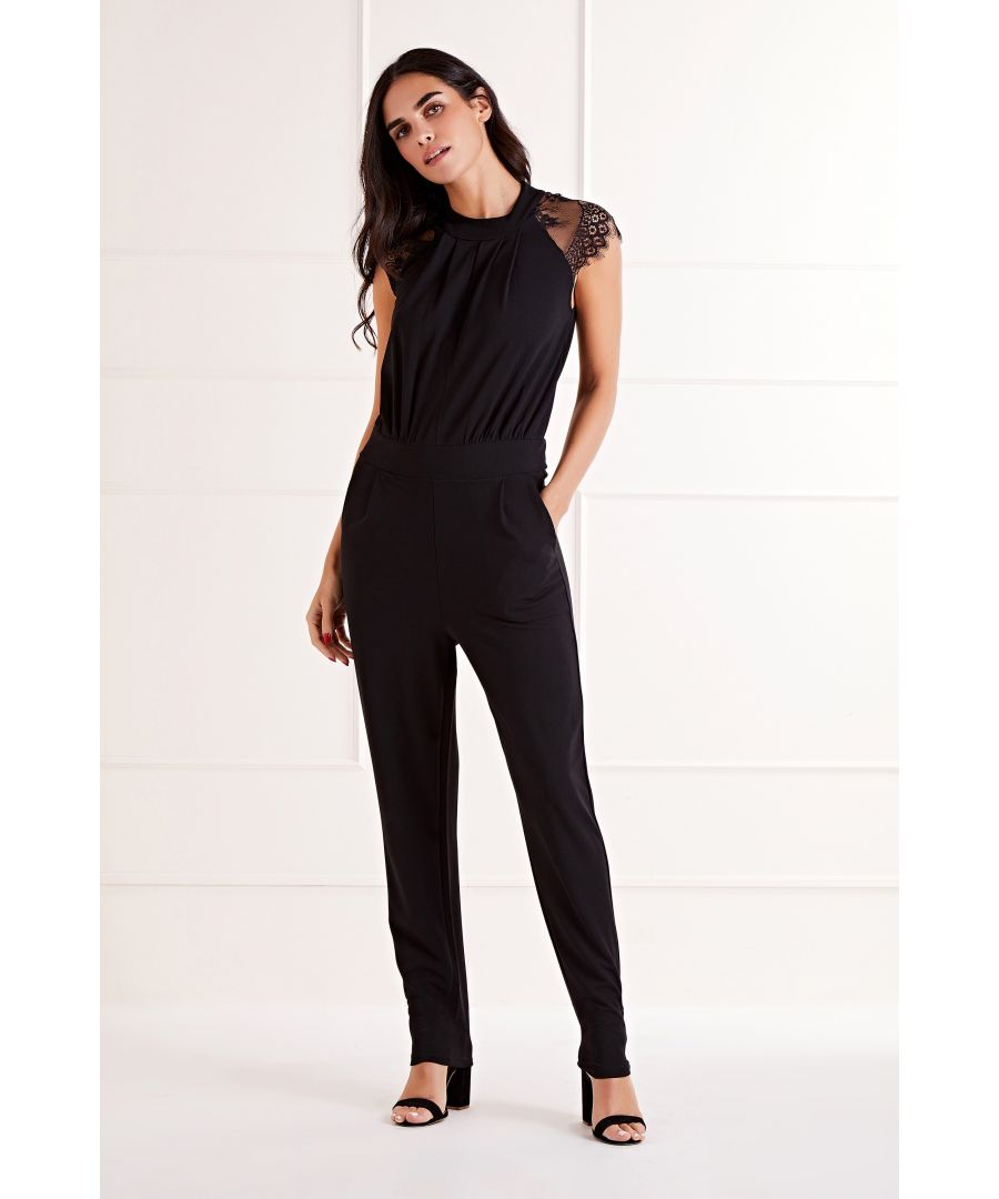Image for Black Delicate Lace Shoulder Key Hole Detail Jumpsuit