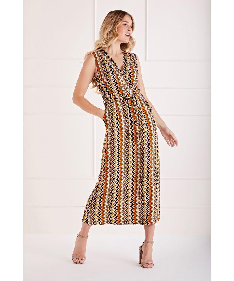 Image for Multi Bright Zig Zag Printed Wrap Dress