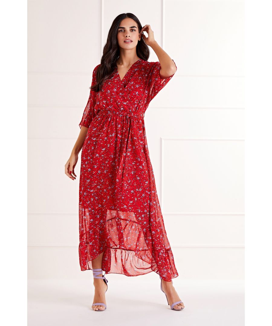 Image for Red Ditsy Floral Wrap Front Maxi Dress