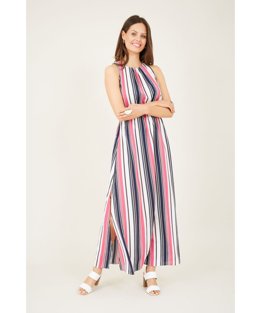 Image for Striped High Neck Maxi Dress