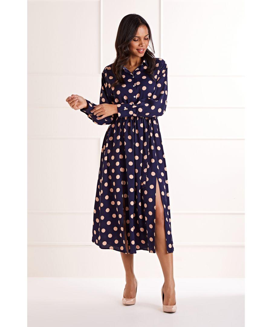 Image for Polka Dot Midi Shirt Dress
