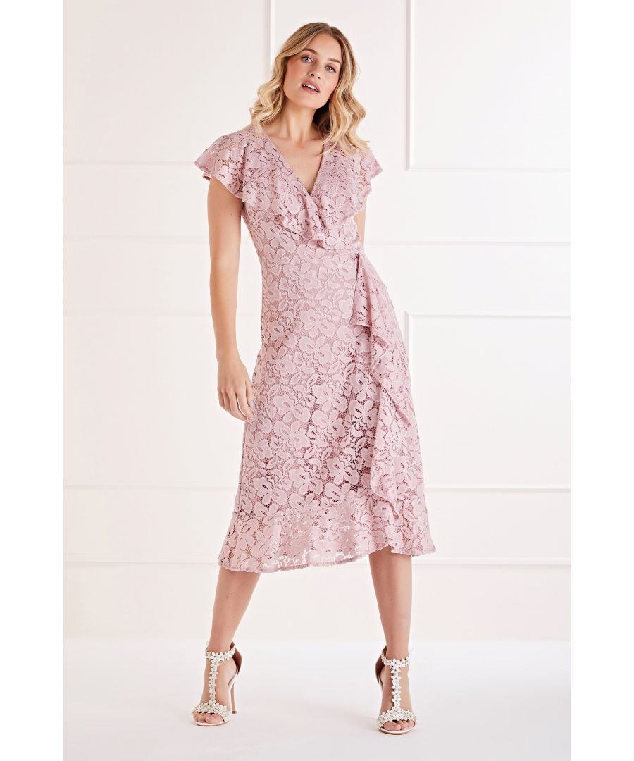 Image for Ruffle Wrap Lace Midi Dress