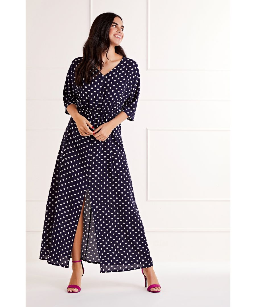 Image for Polka Dot V Neck Maxi Dress