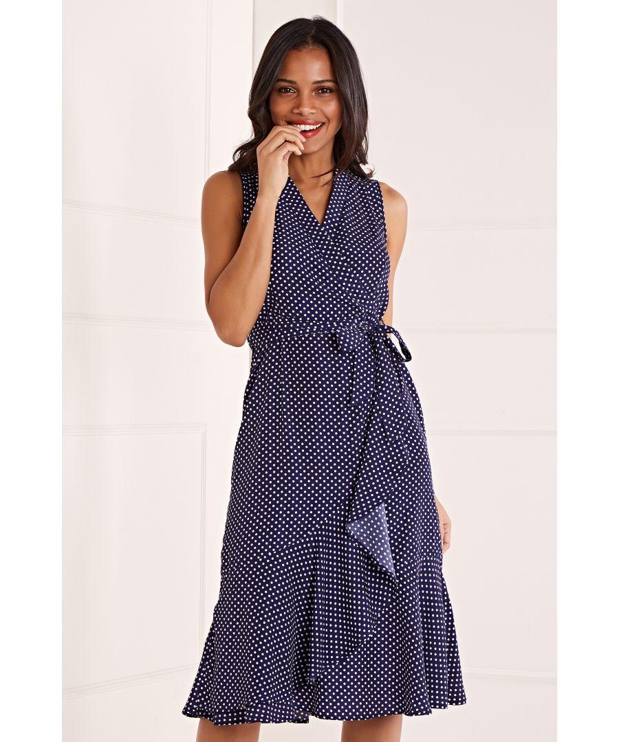 Image for Polka Dot Wrap Front Midi Dress