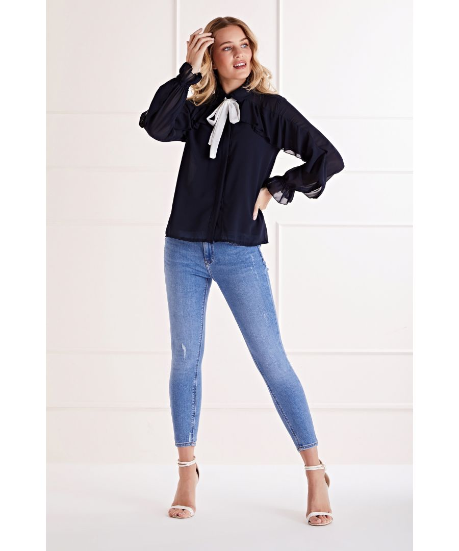 Image for Navy Ruffle Sleeves Pussy Bow Blouse
