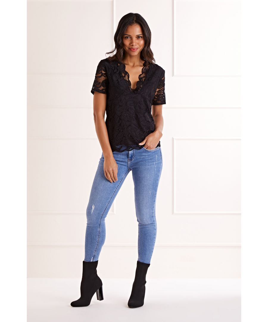 Image for Black V Neck Lace Top
