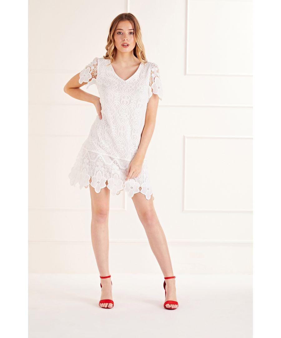 Image for V Neck Border Lace Dress