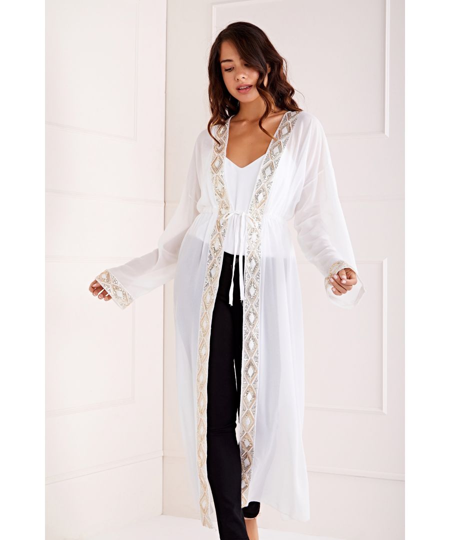 Image for Embroidered Detail Maxi Kimono