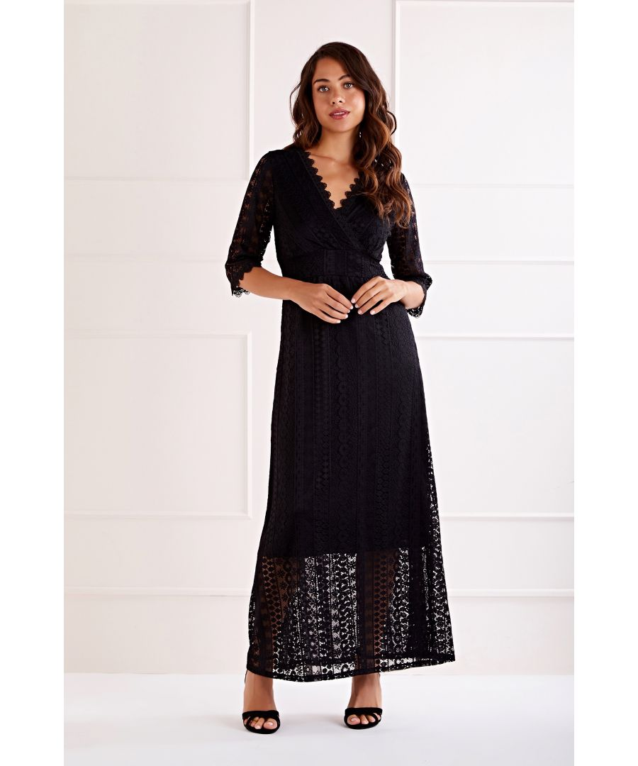 Image for Black Wrap Front Lace Maxi Dress