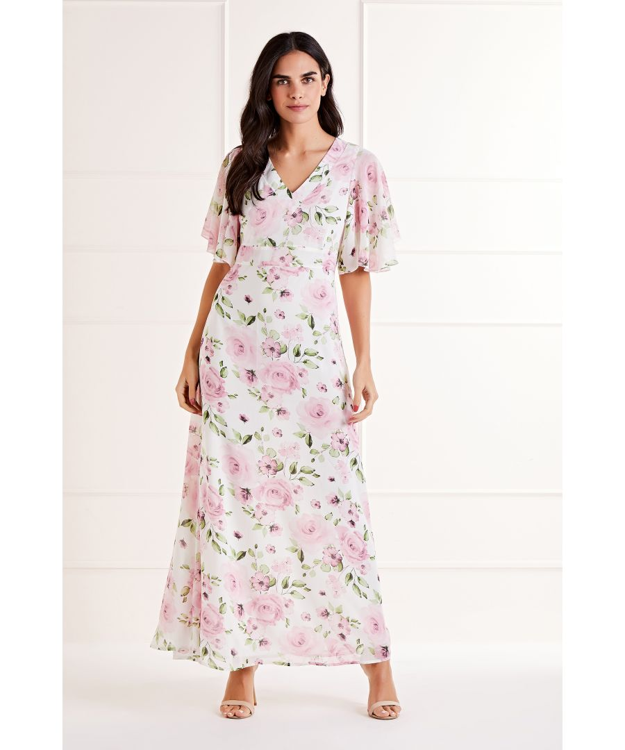 Image for Delicate Rose Printed V Neck Maxi Dress