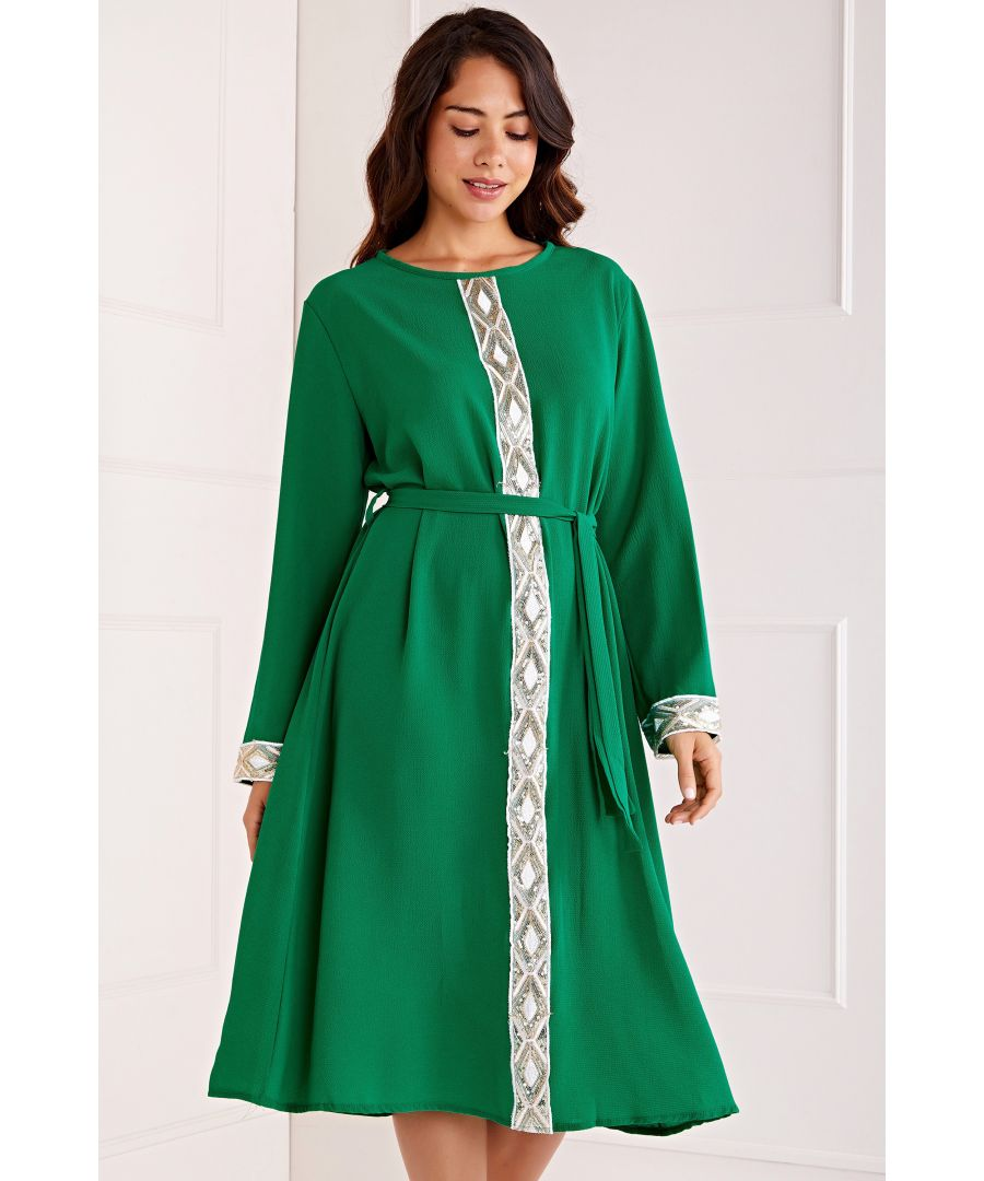 Image for Embroidered Detail Belted Midi Dress