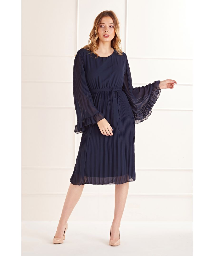 Image for Navy Fluted Sleeve Pleated Midi Dress