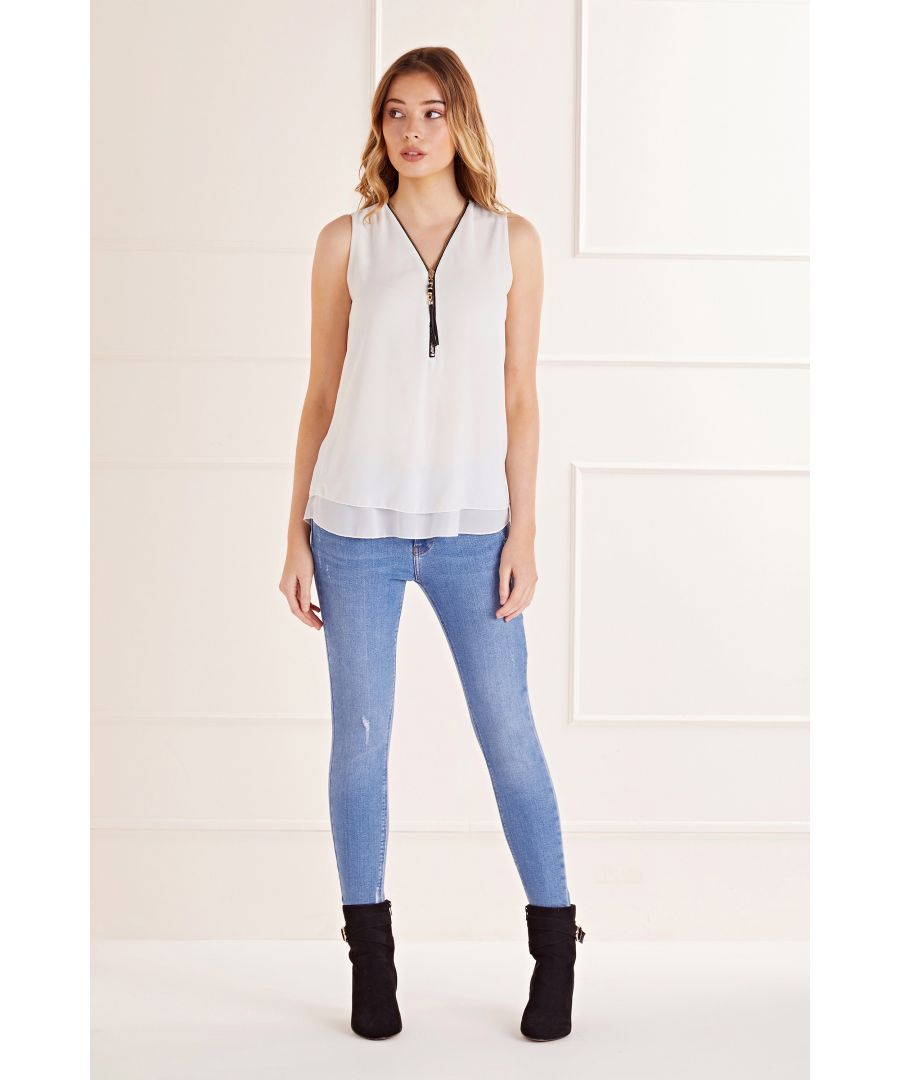 Image for White  Zip Detail Sleevless Top