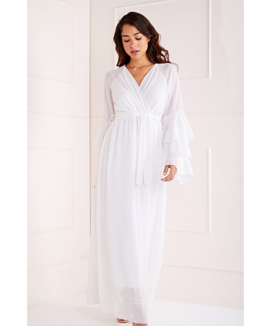 Image for Wrap Front Ruffle Sleeve Maxi Dress