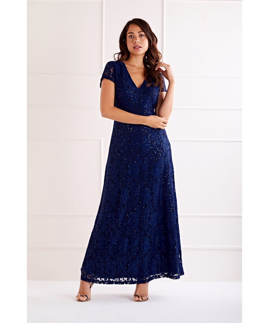 Image for Navy Embellished  V Neck Lace Maxi Dress