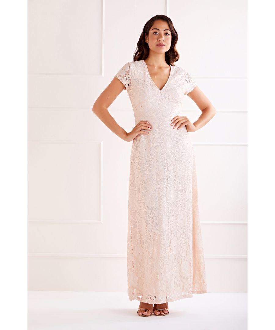 Image for Blush Sequin Detailed V Neck Lace Maxi Dress