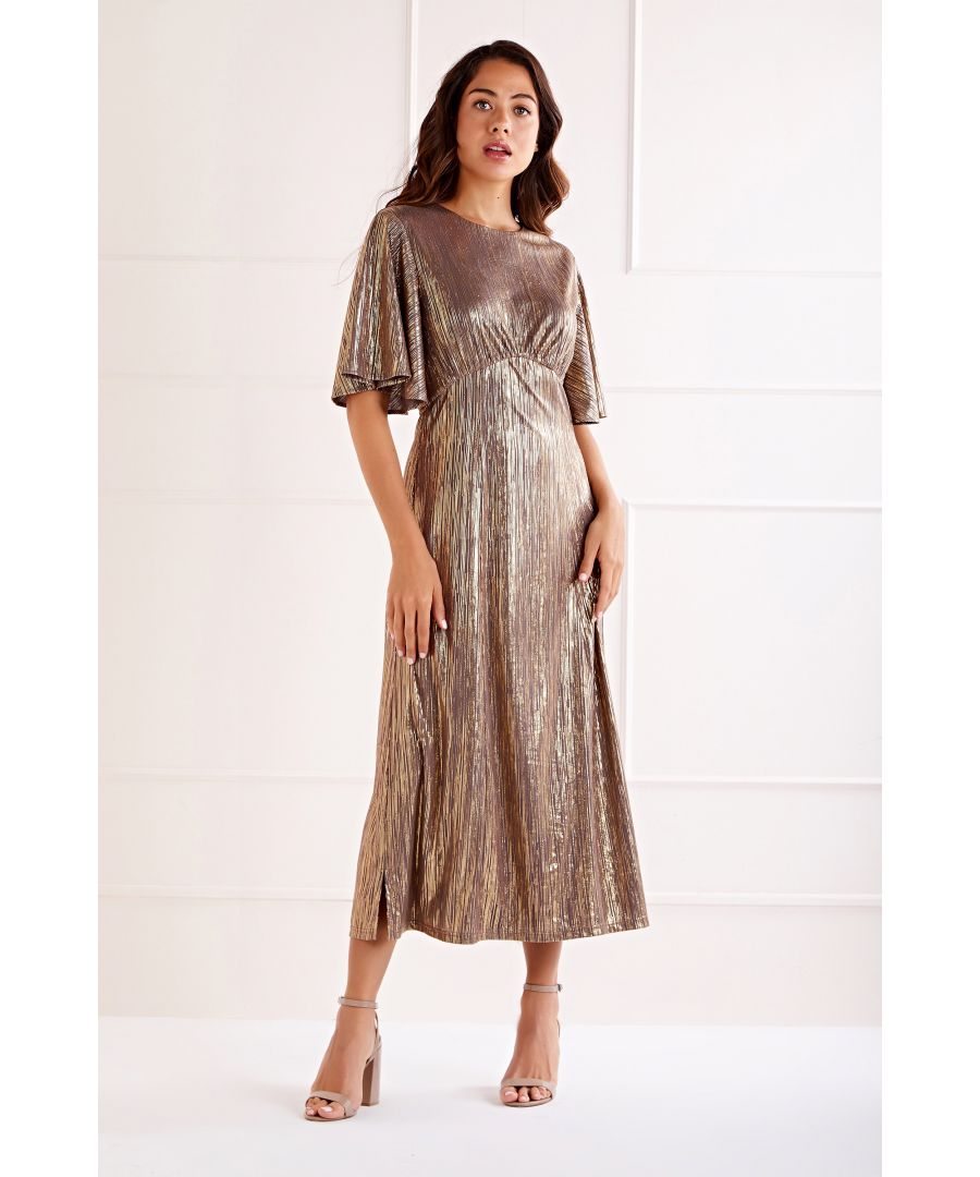 Image for Foil Detailed Ruffle Sleeve Midi Dress