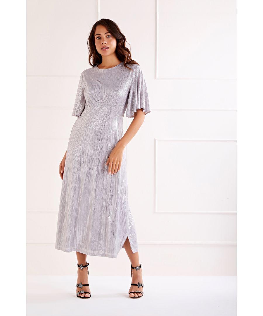 Image for Foil Detailed Ruffle Sleeve Midi Dress