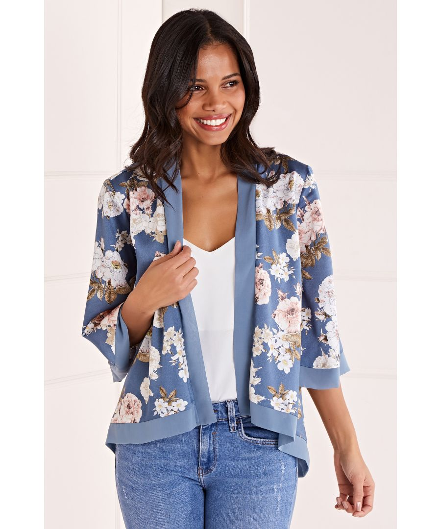 Image for Floral Satin Short Length Kimono