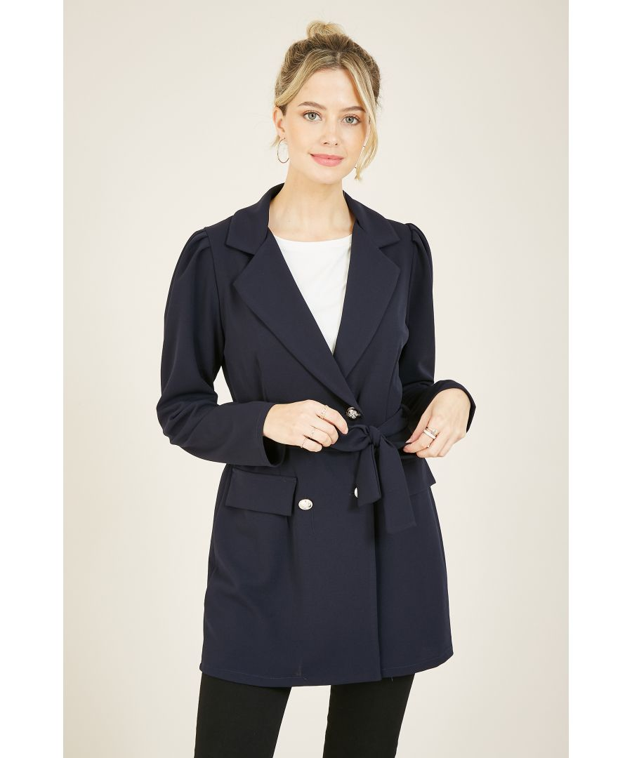 Image for MELA Military Double Breasted Puff Sleeve Jacket