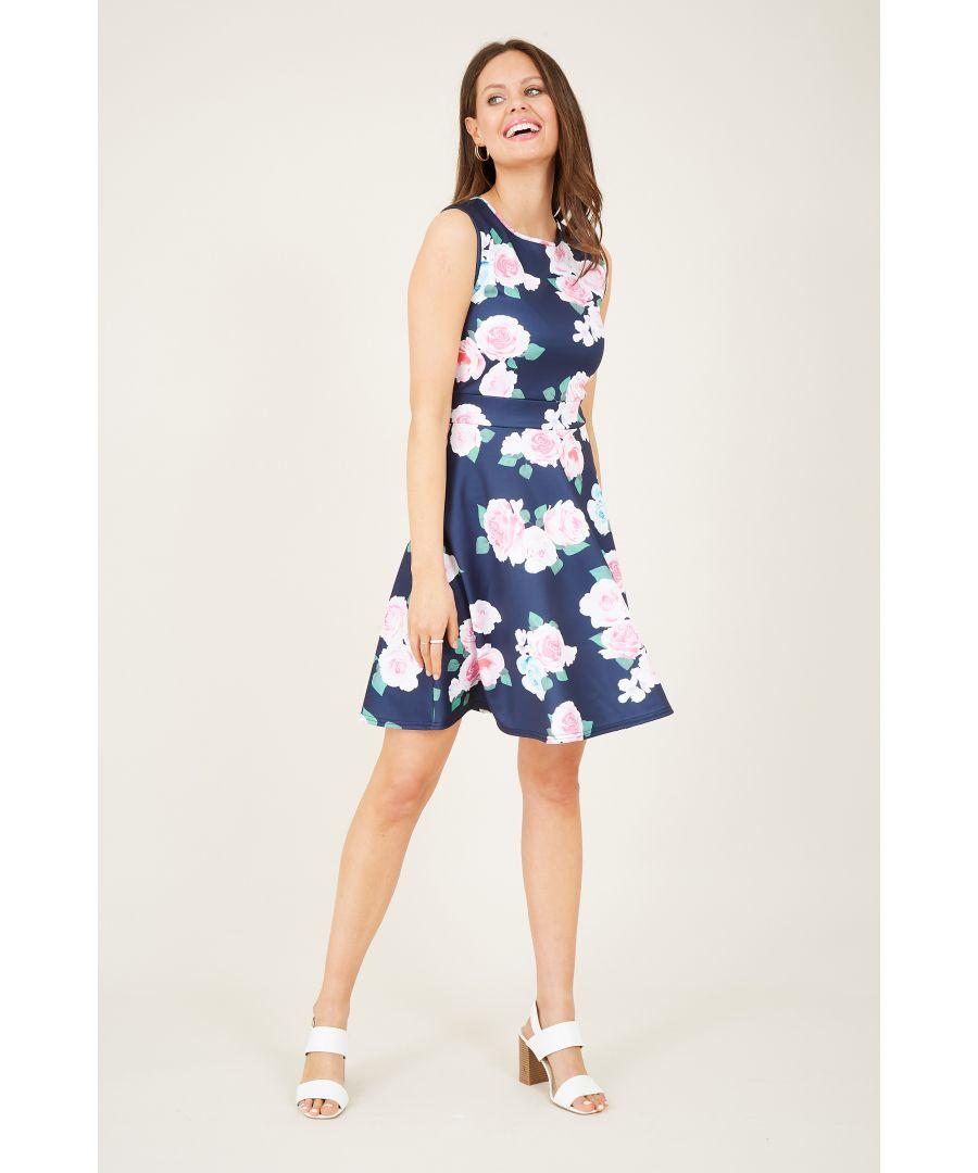 Image for Rose Print Skater Dress