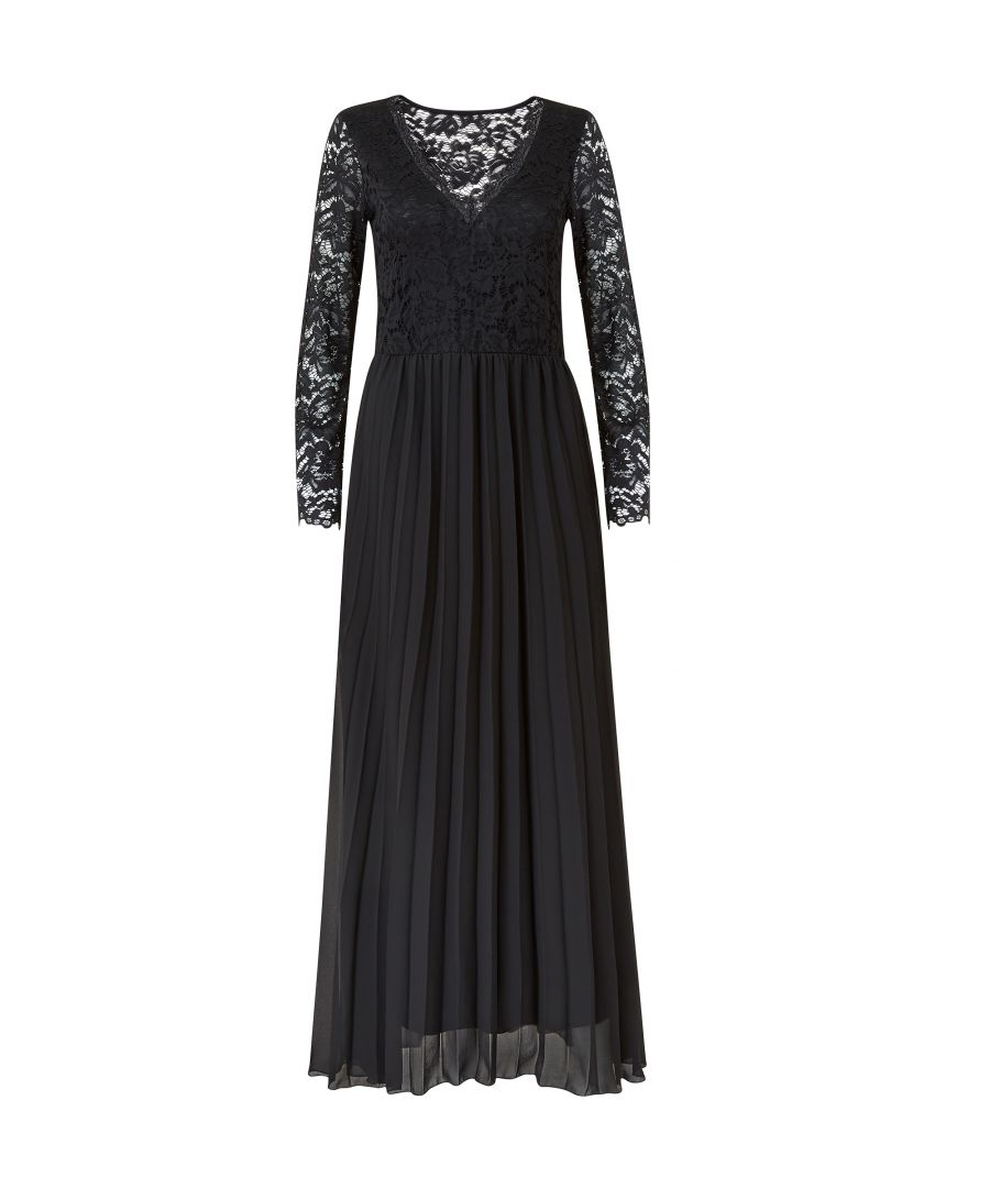 Image for Yumi Lace Top Pleated Maxi Dresss
