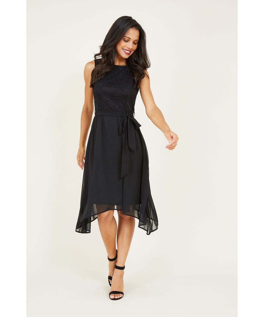 Image for Mela London Sleeveless Lace Top Asymmetric Dress