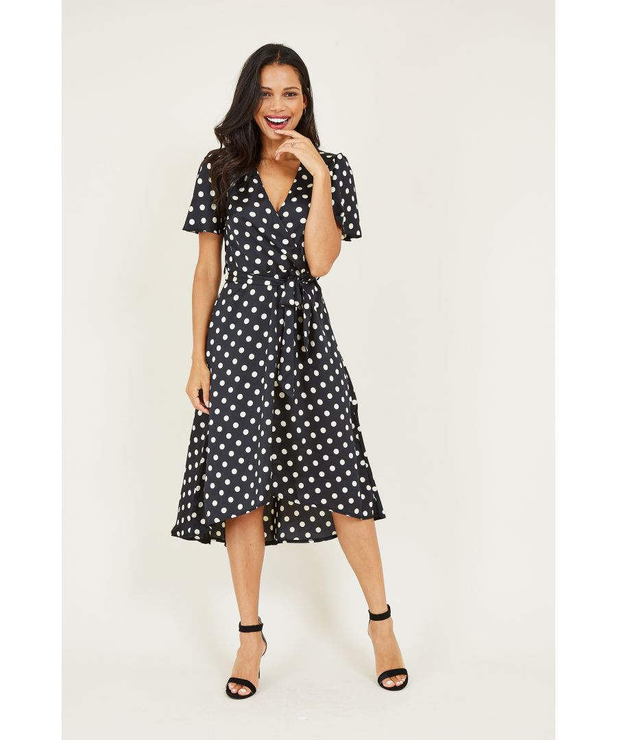 Image for Polka Dot Wrap Front High Low Dress