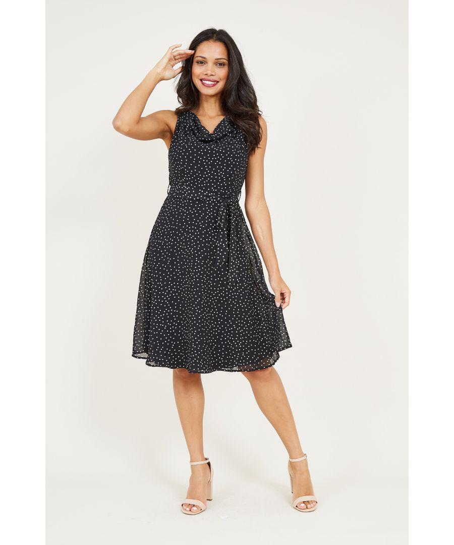 Image for Polka Dot Cowl Neck Dress
