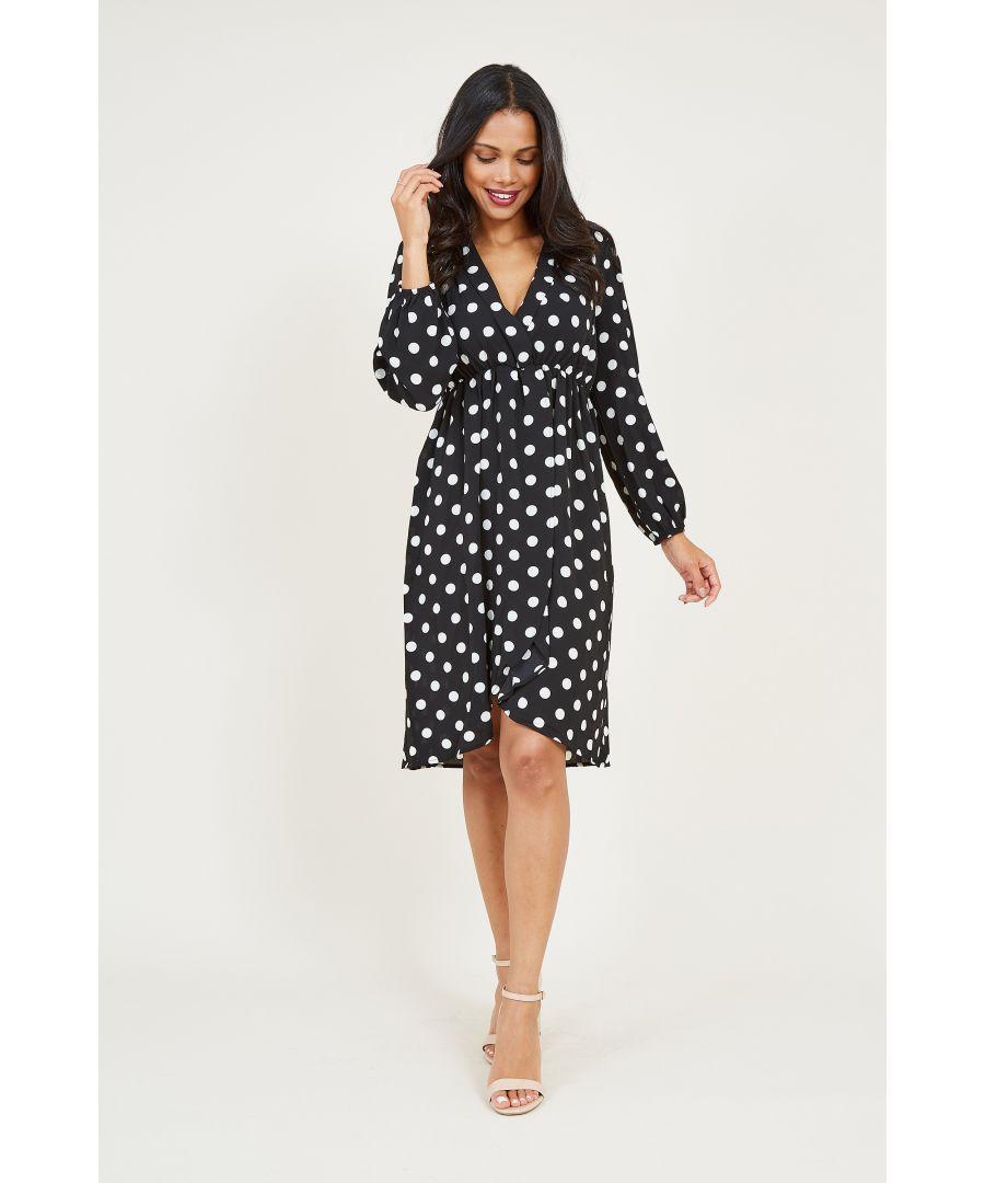 Image for Mela London Polka Dot Printed Wrap Effect Dress