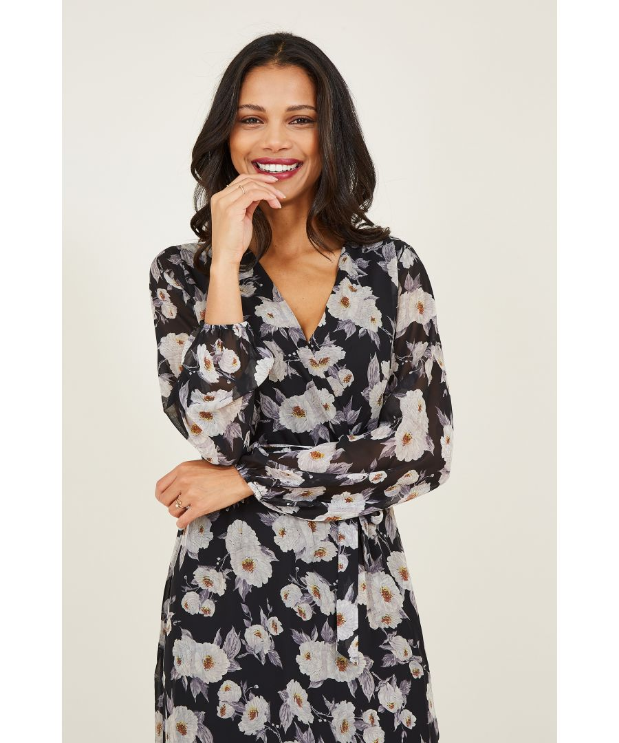 Image for Yumi Floral Printed Asymmetric Wrap Front Dress