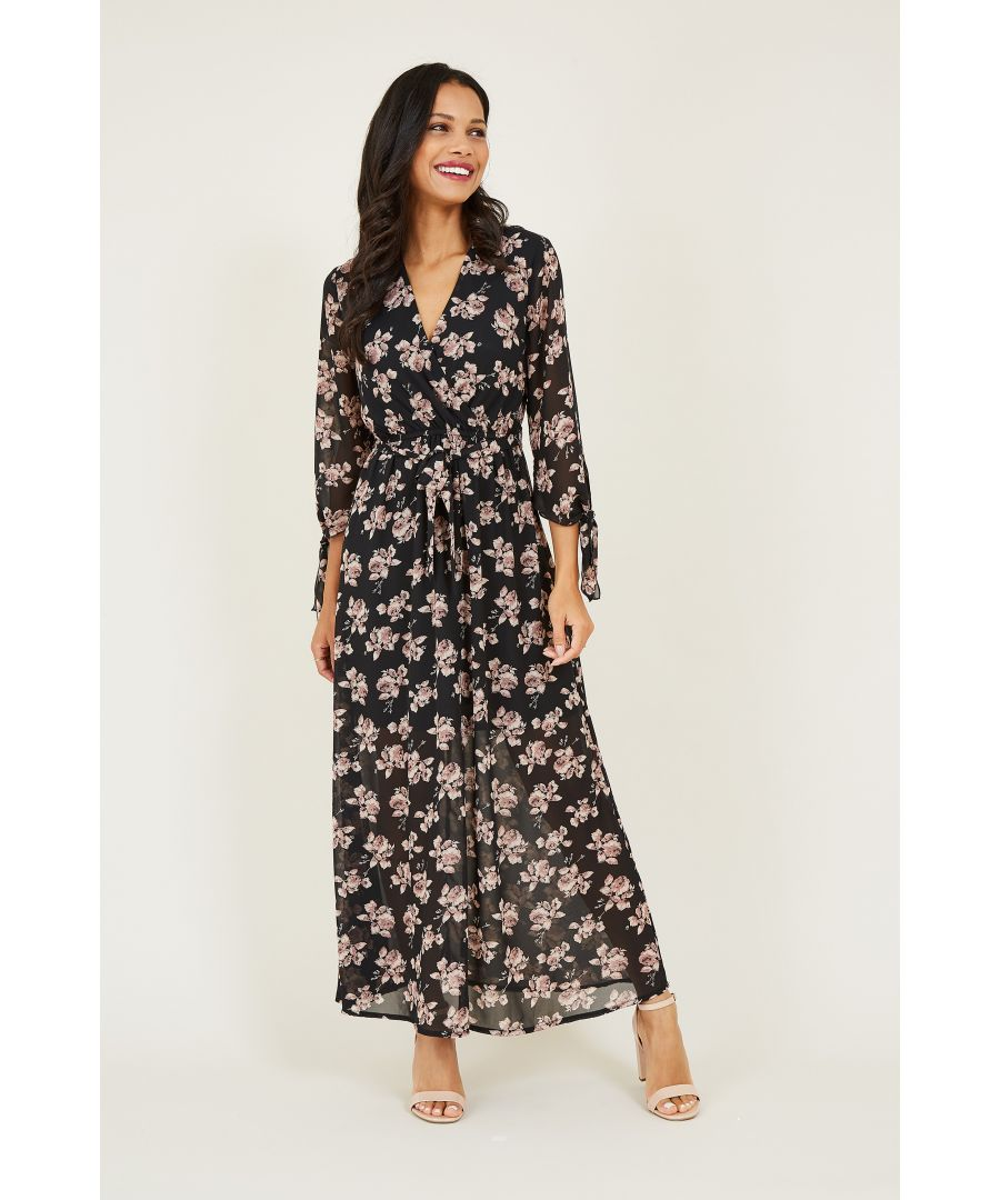 Image for Rose Printed Tie Sleeve Maxi Dress