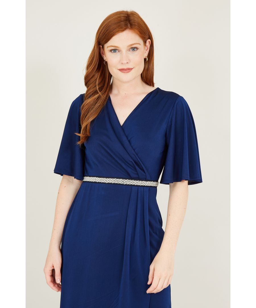 Image for Yumi Pearl Belt Detail Wrap Front Maxi Dresss