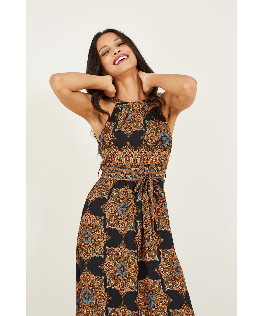 Image for Yumi Scarf Print High Neck Maxi Dresss