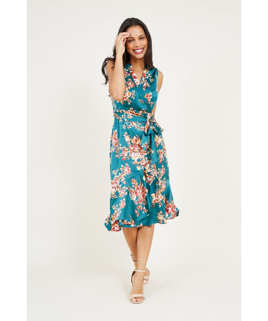 Image for Autumn Flower Satin Wrap Front Midi Dres