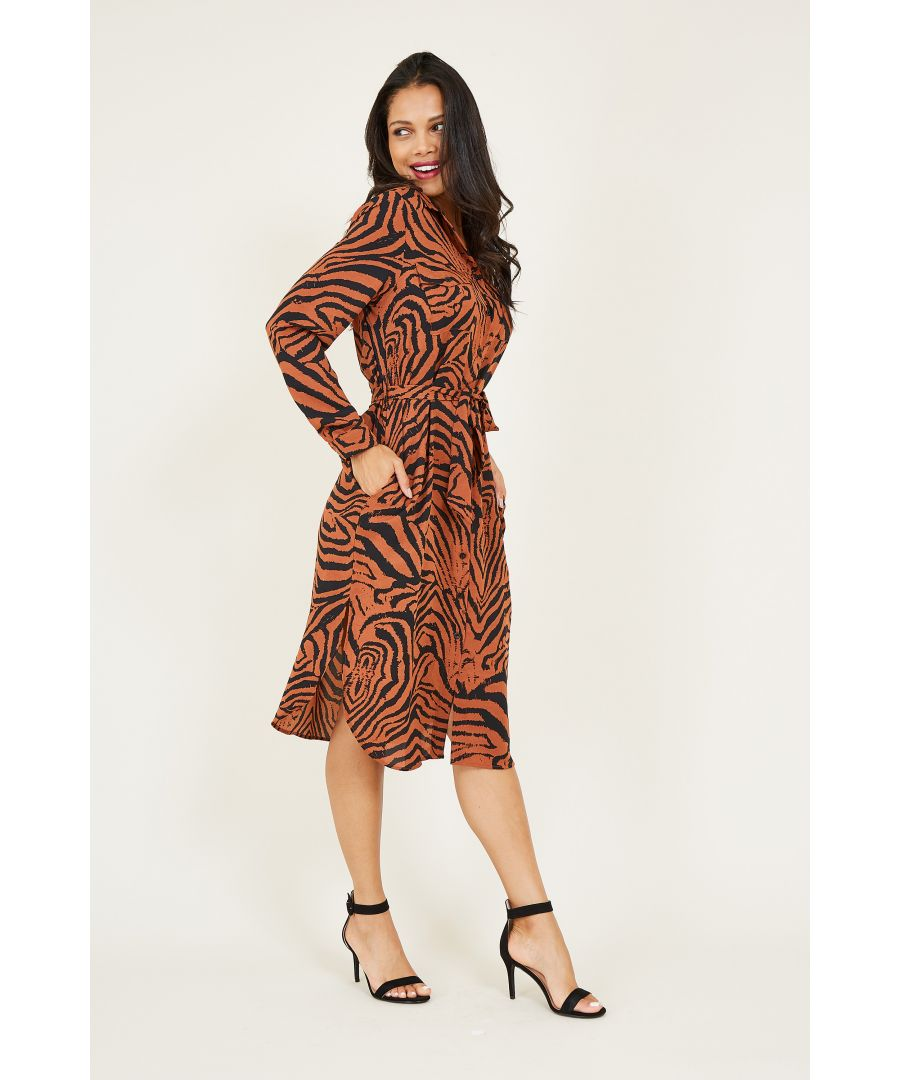 Image for Animal Print Belted Shirt Dress